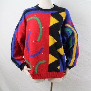 Vintage 80s Bold Print Bold Colors Sweater Sz Lg